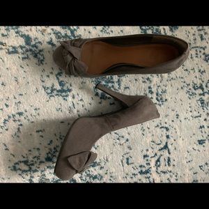 G by Guess Grey Suede Heels with Bow